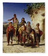 A Gypsy Family On The Road, C.1861 Oil On Canvas Fleece Blanket