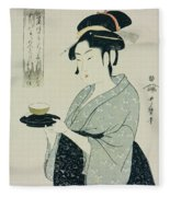 A Half Length Portrait Of Naniwaya Okita Fleece Blanket