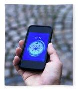 A Hand Holding A Digital Compass Fleece Blanket