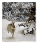 A Hare In The Snow Fleece Blanket