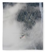 A Heli-ski Helicopter Flies Fleece Blanket