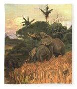 A Herd Of Elephants By Moonlight Fleece Blanket