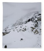 A Hiker Approaches A Snowy Peak Covered Fleece Blanket