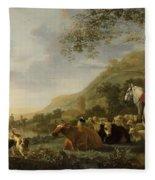 A Hilly Landscape With Figures Fleece Blanket