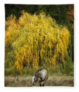 A Horse And A Willow Tree Fleece Blanket