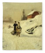A Horse Drawn Sleigh In A Winter Landscape Fleece Blanket
