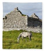 A Horse Grazing In A Field Fleece Blanket