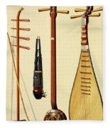 A Huqin And Bow, A Sheng, A Sanxian Fleece Blanket