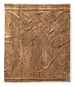 A King Carved In Wood Fleece Blanket