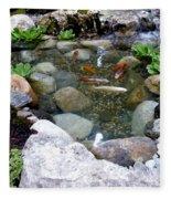 A Koi Pond For Outdoor Garden Fleece Blanket