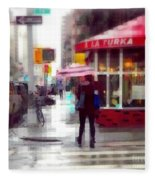 A La Turka In The Rain - Restaurants Of New York Fleece Blanket