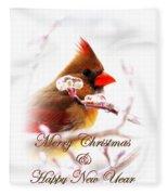 A Lady For Christmas - Cardinal Card Fleece Blanket