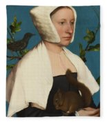 A Lady With A Squirrel And A Starling Fleece Blanket