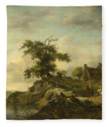 A Landscape With A Farm On The Bank Of A River Fleece Blanket