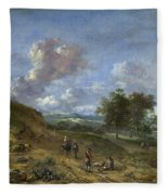A Landscape With A High Dune And Peasants On A Road Fleece Blanket