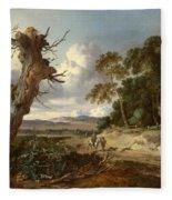A Landscape With Two Dead Trees Fleece Blanket