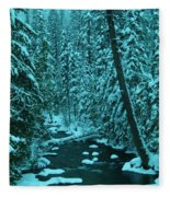 A Leaning Tree Over The Little Naches River Fleece Blanket