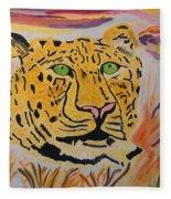 A Leopard's Gaze Fleece Blanket