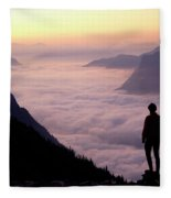 A Lone Hiker Above The Clouds Fleece Blanket