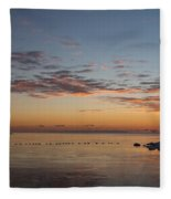 A Long Line Of Canada Geese At Sunrise Fleece Blanket