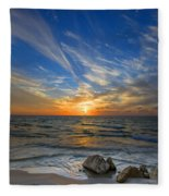 A Majestic Sunset At The Port Fleece Blanket
