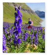 A Male Hiker In Sunny Flower Field Fleece Blanket