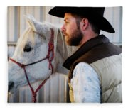 A Male Ranch Hand In A Cowboy Hat Fleece Blanket