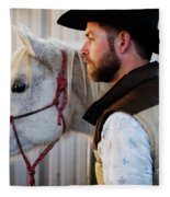 A Male Ranch Hand In A Cowboy Hat Fleece Blanket