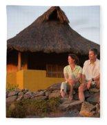 A Man And Woman Enjoy Sunset Fleece Blanket