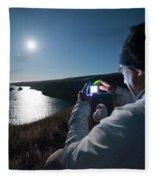 A Man Captures The Full Moon Fleece Blanket