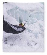 A Man Hangs In A Hammock Sleeping Bag Fleece Blanket