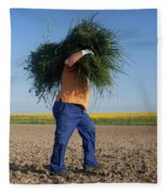 A Man Harvests Sedge To Be Used Fleece Blanket