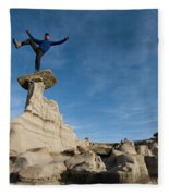 A Man Hiking And Exploring The Complex Fleece Blanket
