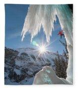 A Man Ice Climbing Louise Falls Fleece Blanket