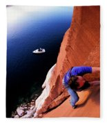 A Man Rock Climbing Fleece Blanket