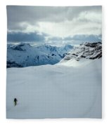 A Man Ski Touring Near Icefall Lodge Fleece Blanket