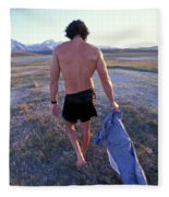 A Man Takes Off His Clothes And Walks Fleece Blanket