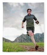A Man Trail Runs Along The Spring Brook Fleece Blanket
