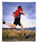 A Man Trail Runs In Salt Lake City Fleece Blanket