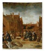 A Marketplace In Winter, 1653 Fleece Blanket