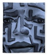 A Maze Ing Face 1 Cyan Fleece Blanket