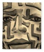 A Maze Ing Face 1 Sepia Fleece Blanket