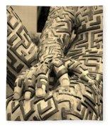 A Maze Ing Man 4 Sepia Fleece Blanket