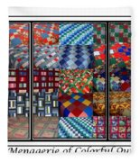 A Menagerie Of Colorful Quilts Triptych Fleece Blanket