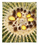 A Mexican Golden Barrel Cactus With Blossoms Fleece Blanket
