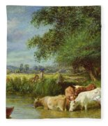 A Midsummer's Day On The Thames  Fleece Blanket