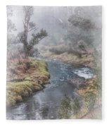 A Misty Morning In Bridgetown Fleece Blanket
