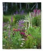 A Mixture Of Flowers Bloom In Hillside Fleece Blanket