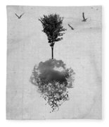 Tree Birds Clouds Abstract Paint Drips Fleece Blanket