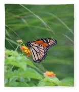 A Monarch Butterfly At Rest Fleece Blanket